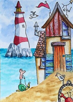 Original Watercolour ACEO Painting by JULIA Seaside, Beach Hut, Mouse, Snail