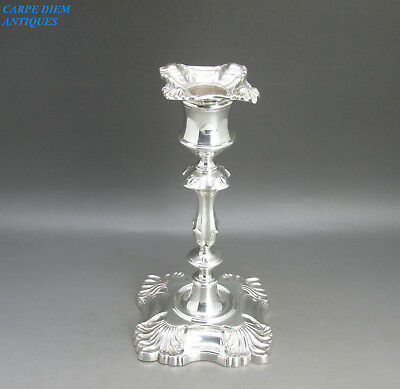 ANTIQUE VICTORIAN HEAVY SOLID STERLING SILVER DESK CANDLESTICK, 368g, LON 1900