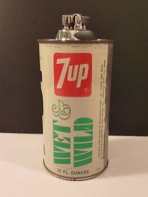 7-UP WET & WILD VINTAGE ALL-STEEL CAN LIGHTER Seven Up Research Corp Collectible