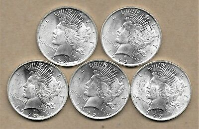 1922 Peace Silver Dollar Lot Of 5 Coins Bu