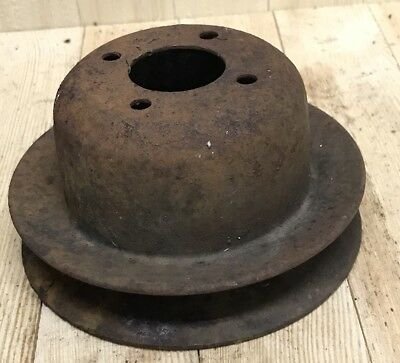 Vintage Cast Iron Metal Pulley Wheel Industrial Steampunk Base Decor 4 7/8""
