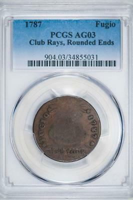 1787 PCGS AG03 Club Rays, Rounded Ends Fugio Cent Item#J2904