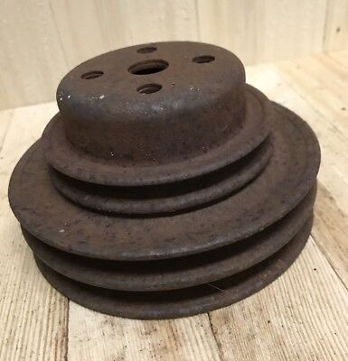 Vintage Cast Iron Metal Pulley Wheel Industrial Steampunk Base Decor 5 1/4""