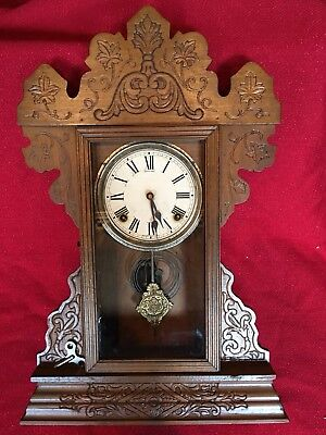LARGE Sessions Clock Co Oak Victorian Kitchen/Mantle Clock Fancy 8 Day Running