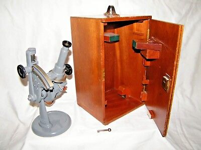 Brass Hilger & Watts Refractometer with Thermometer in Original Case Microscope