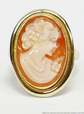 14K Yellow Gold Vintage Carved Shell Cameo Ladies Ring Italian Hallmarks