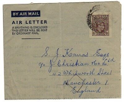 NIGERIA 1950 Aerogramme Air Letter to Manchester UK Great Britain