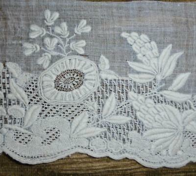 TIMEWORN FRAGMENT 19th CENTURY REGENCY AYRSHIRE OR DRESDEN WHITEWORK, PROJECTS