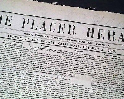 Rare AUBURN Placer County CALIFORNIA Old West Gold Mining Town 1885 Newspaper
