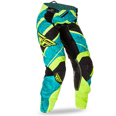 FLY KINETIC ladies motocross pants size 0/2, teal/hi-vis 369-63804