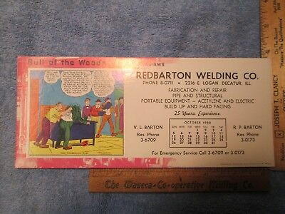 Vtg 10-1958 Redbarton Welding Co. Decatur IL Blotter