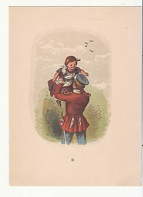 Soldier Sword Father Lifting up Daughter No Advertising Vict Card c 1880s
