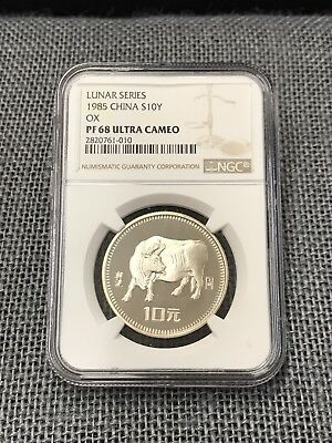 1985 China Silver 10 Yuan, Ox - Lunar Series, NGC PF68 Ultra Cameo