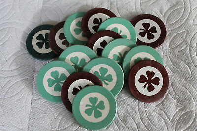 Vintage Lot of 15  1930's  Clay inlaid Poker Chips Gambling Hall Casino Tavern