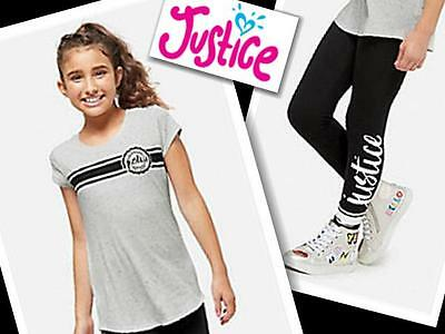 NWT Justice for Girls Justice Logo Striped Tee/Leggings Size 7 10  Outfit
