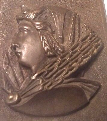 Antique Bronze 3 D Bronze Wall Plaque Ancient King Tut Detailed