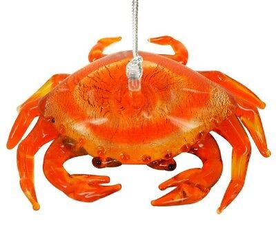 Glassdelights Red Crab Glass Christmas Tree Ornament Sea Life Animal Decoration