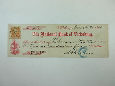 MS. National Bank of Vicksburg 1866 Check for $3905.22 + Revenue Stamp VF-XF