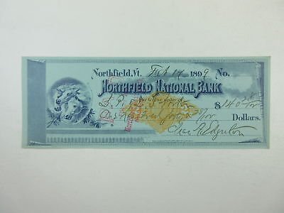 VT. Northfield National Bank 1899 Check for $140.28 + Preprinted Revenue XF