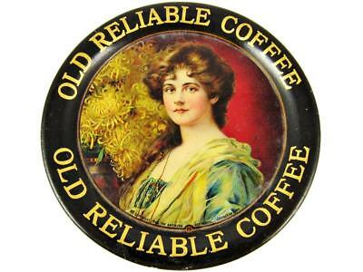 Antique Old Reliable Coffee American Art Works Advertising Tin Litho Tip Tray