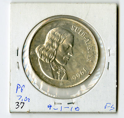 South Africa Suid Afrika Silver 1 Rand 1966 KM-71.2 Proof