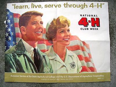 Vintage 4-H Club Week Poster 1961 USDA Agriculture Extension Service Griffith