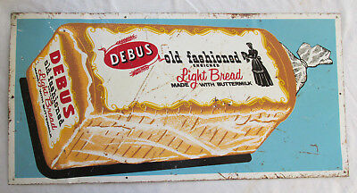 Original DEBUS BREAD Sign Metal 24x12 Country Store Nebraska Old RARE