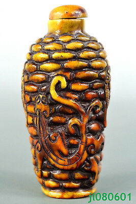 Collectible Vintage China Amber Exquisite dragon  totem Lucky Snuff Bottle