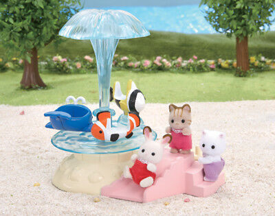 Calico Critters Seaside Merry Go Round Play Set CC1566 Ocean Water Fountain Toy