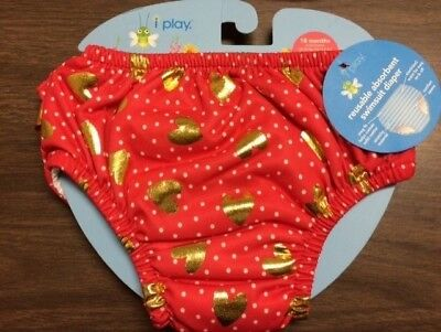 NEW i Play Reusable absorbent swimsuit diaper Red Gold Hearts 18 months