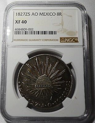 Republic Mexico 8 Reales 1827 Zs-AO  NGC Zacatecas Mint Free Shipping