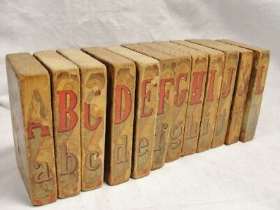 Antique Double sided wood TOY ALPHABET BLOCKS w PAPER LITHOGRAPH animals