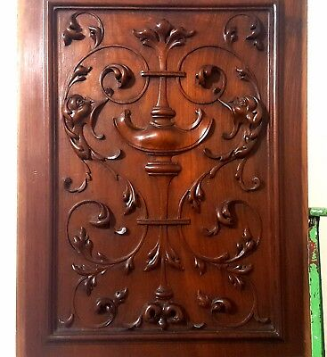 Hand Carved Wood Panel Antique French Bow Griffin Architectural Salvage Carving
