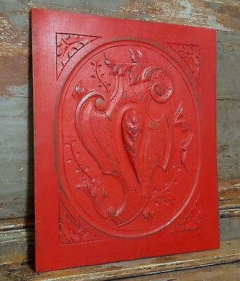SHABBY CARVED WOOD PANEL ANTIQUE FRENCH OAK COAT OF ARMS SALVAGED CARVING 19th