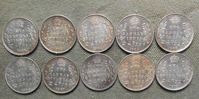 10 India King Edward VII 2 Annas Silver KM-505 Various Dates