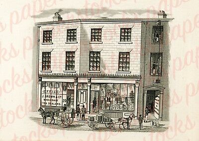 c.1820's J.BROWN & CO TEA DEALERS MANCHESTER ANTIQUE ADVERTISING A3 PRINT