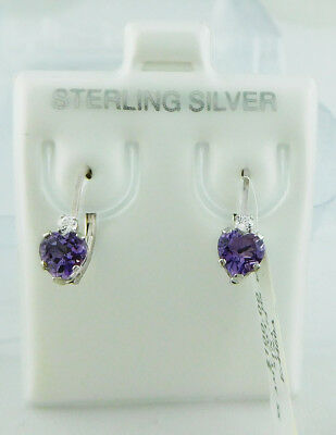 GENUINE 1.25 Cts AMETHYST EARRINGS .925 Sterling Silver * Brand New With Tag *