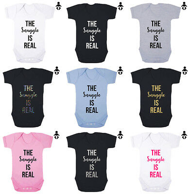 THE SNUGGLE IS REAL, cuddle cute, funny, boy love Baby grow BABY VEST / Bodysuit