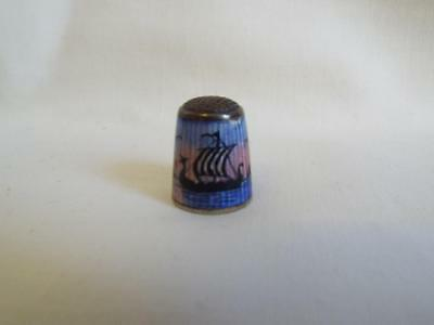 Vintage Norwegian silver guilloche thimble by Aksel Holmsen with Viking Longship