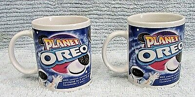 Pair Nabisco Planet Oreo 3x4 Houston Harvest Porcelain Mugs Coffee Cups FREE S/H