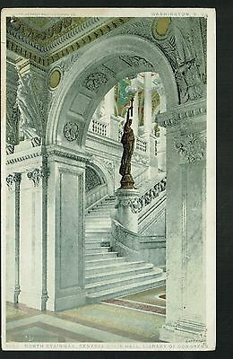 Vintage Postcard - Central Stair Hall, Library of Congress - Washington D.C.