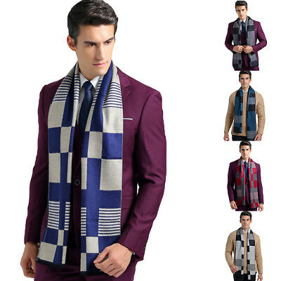 CO_ FH- Men's Winter Scarf Classic Strip Pattern Soft Cotton Muffler Scarf Gift