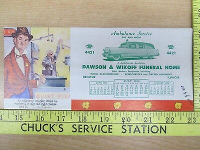 Vtg 7-1956 Dawson & Wikoff Funeral Home & Ambulance Service Decatur IL Blotter