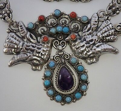 Vtg Matl Inspired Mexico Sterling Silver Turquoise Coral Amethyst Bird Necklace