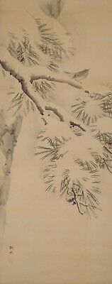 #9385 Japanese Hanging Scroll: Pine Tree in the Snow