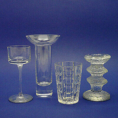 Collection of Four Crystal Glass Candle/Tealight Holders/Sticks