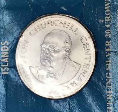1974 Turks and Caicos Winston Churchill Sterling Silver 20 Crown Coin * SEALED *