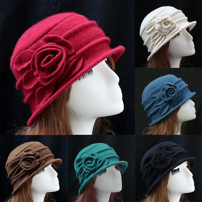 CO_ HK- Women Wool Church Cloche Flapper Hat Lady Bucket Winter Flower Cap Natur