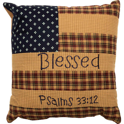 VHC Brands Americana Primitive Bedding Patriotic Patch Red Pillow Case Set Standard 7709