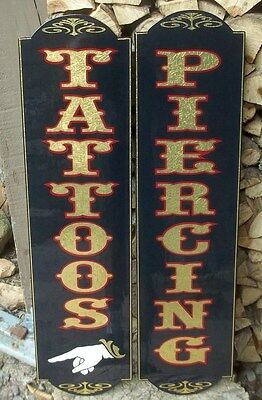 Old Fashioned Vertical Piercing Sign w/ Gold Leaf Nice Can be Customized